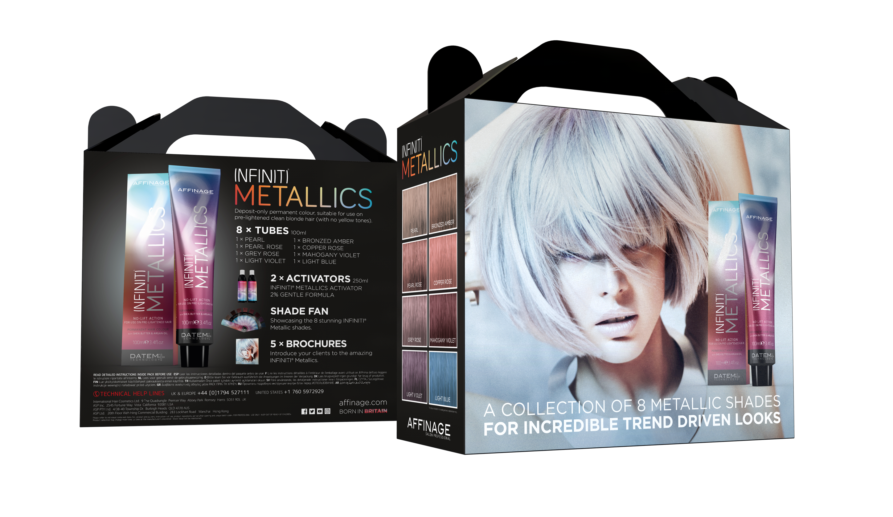 The Metallics collection intro kit. Photo courtesy of Affinage Salon Professional.