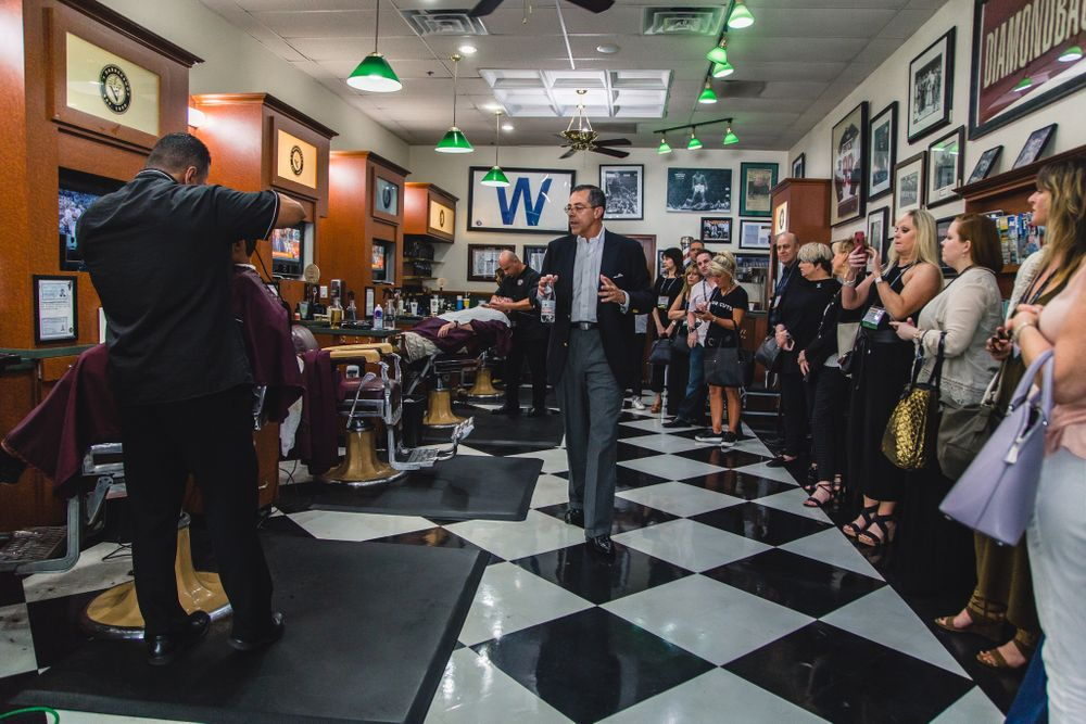 On tour day, Jim Valenzuela took ISBN members to his oldest barbershop and his newest one. The following morning, members got to quiz the V's management team over brunch.