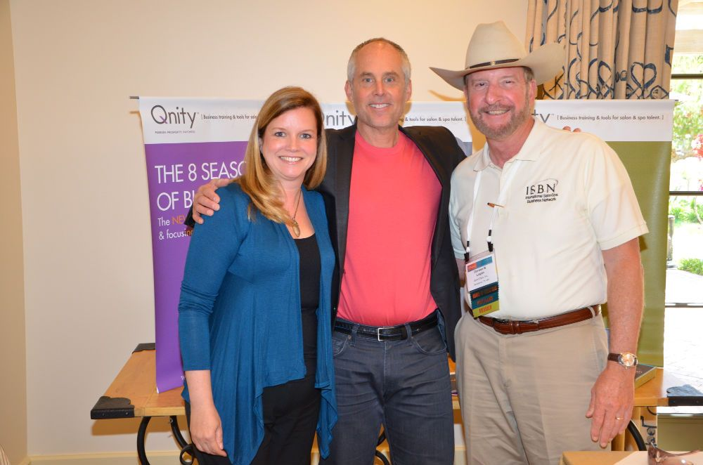 Stacey Soble, editor in chief of SALON TODAY; Tom Kuhn, founder of Qnity; and ISBN President Gordon Logan, founder of Sports Clips.