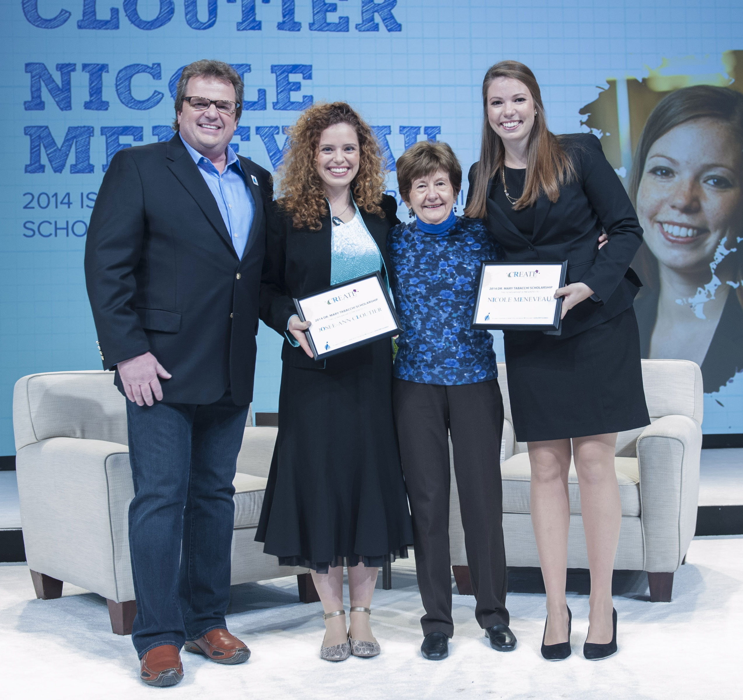 Jeff Kohl, ISPA Foundation Chairman; Josee-Ann Cloutier, co-recipient of the 2014 Mary Tabacchi Scholarship; Mary Tabacchi; and Nicole Meneveau, co-recipient of the 2014 Mary Tabacchi Scholarship
