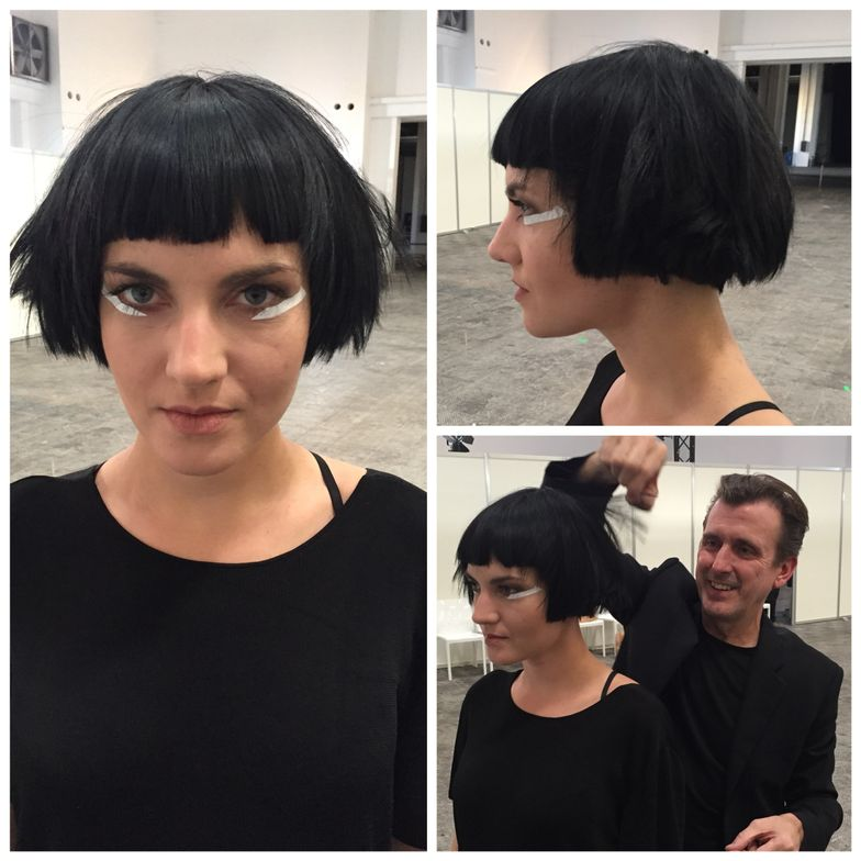 Sassoon's Mark Hayes putting the finishing touches on a model.