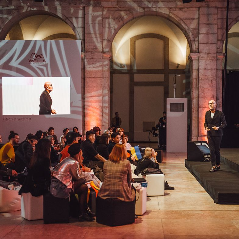 "Rossano Ferretti presents to the attendees of Wella Professionals ITVA2018 ""Creative Retreat Experience"" held in Lisbon, Portugal."