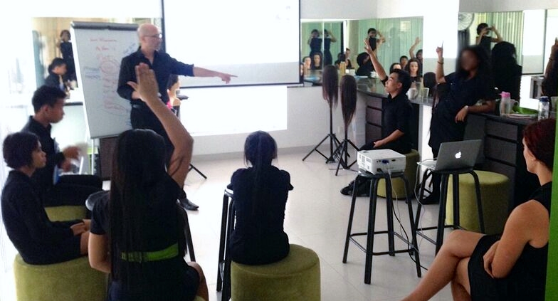Fairfax teaches a class at Kate Korpi. The academy continues to stylists who want to volunteer to come over to Cambodia and donate three more weeks as an instructor.