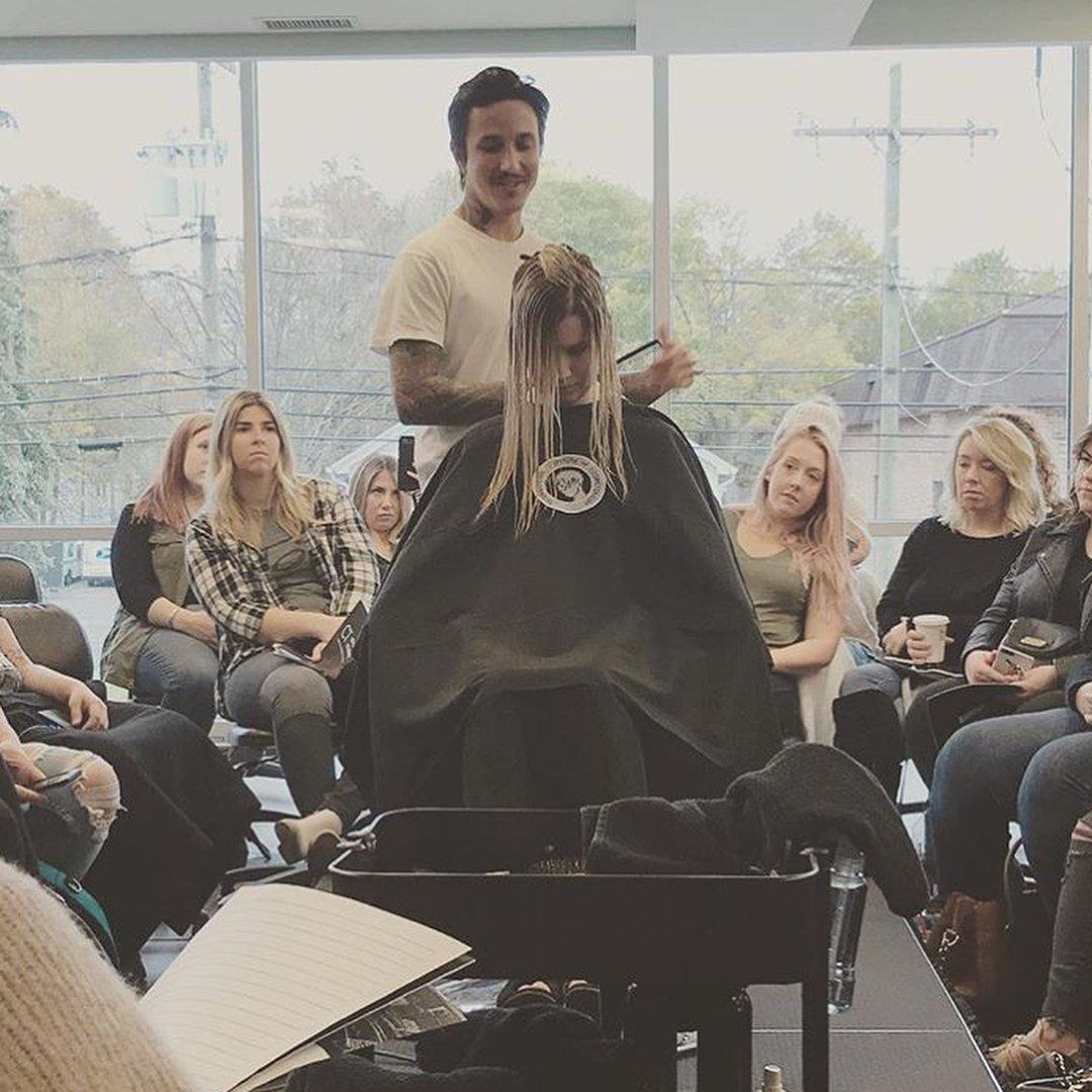 Guest Artist Dominick Serna (@domdomhair) teaching an Advanced Academy cutting class at the International Institute of Cosmetology on 11-5-17.