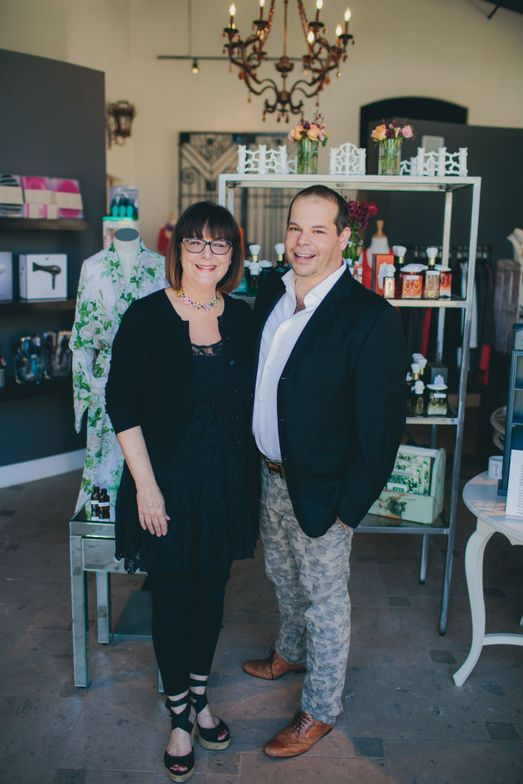 Jacque Leonard, owner of Salon Roux in Paso Robles, California, with Sean OMara, founder of Royal Apothic. Photo by Lindsey Gomes.