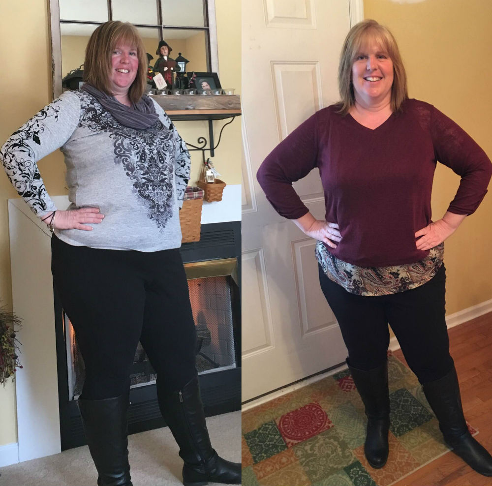 Jennifer Knill before (left photo) and 40+ pounds into her weight loss goals.