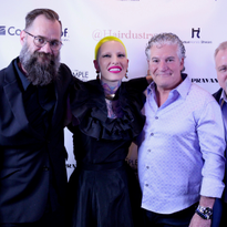 l-to-r: Corey Grant from Hairdustry, Pravana Collective artist and Schedulicity Advocate Presley...