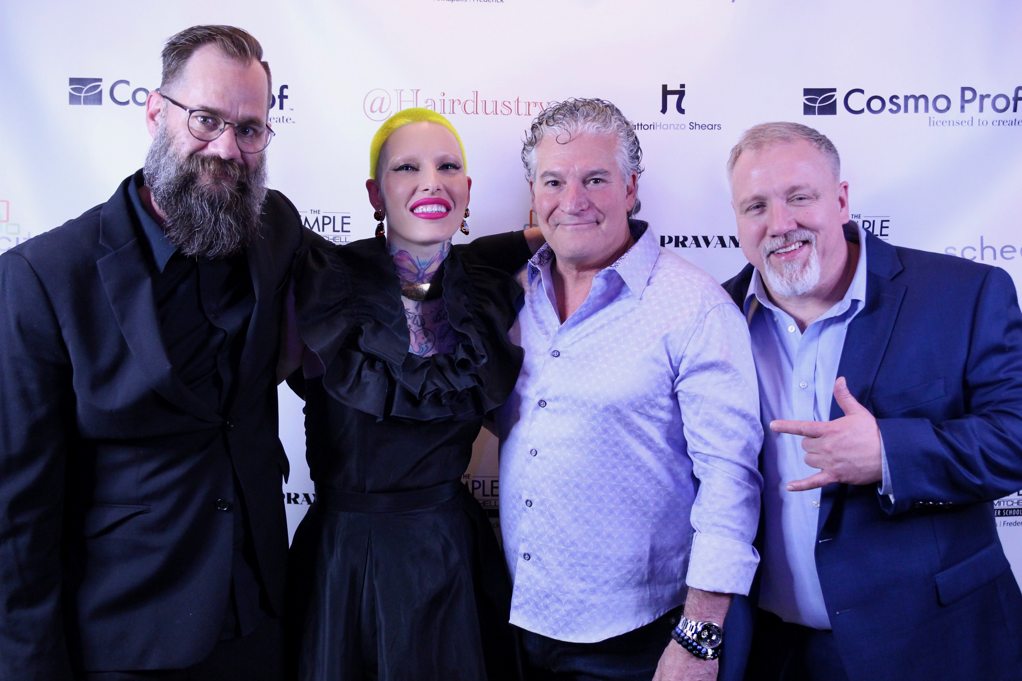 l-to-r: Corey Grant from Hairdustry, Pravana Collective artist and Schedulicity Advocate Presley Poe, Schedulicity CEO + Founder Jerry Nettuno with Tony Stuart from Hairdustry