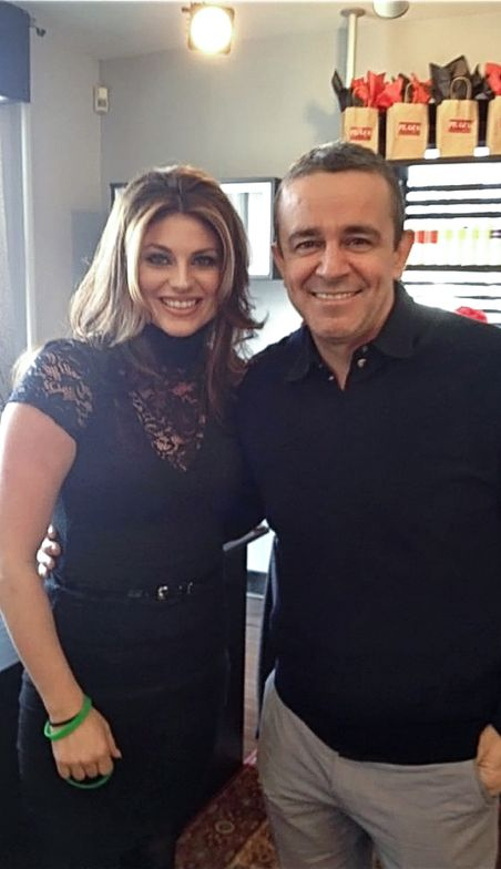 Jessica Walker, owner of Plaza Salon and Spa in Bernardsille, New Jersey, with Nick Arrojo.