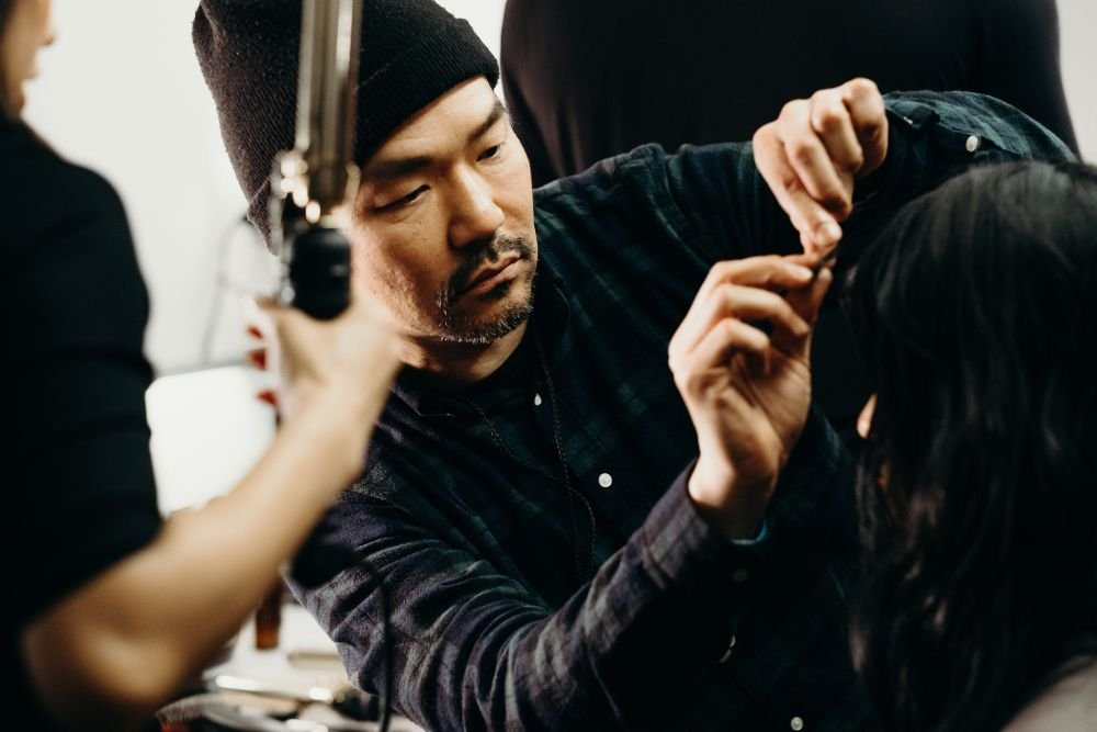 Kien Hoang backstage at Nicole Miller for the F/W 2019 collection.
