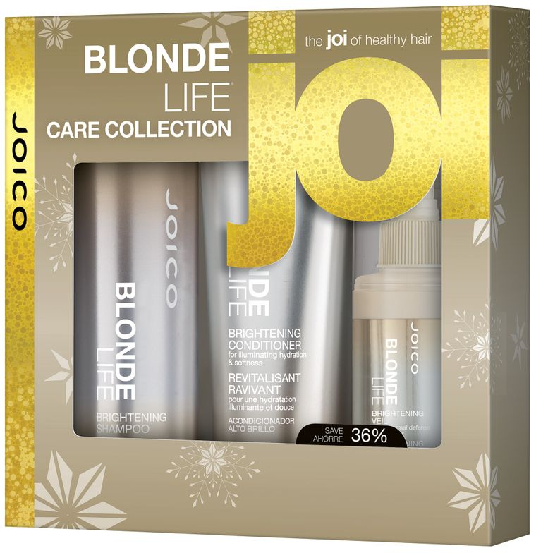 <strong>The Blonde Life Trio</strong> by <strong>Joico</strong> line of care and lightening products is for bleached, double-processed or highly lifted hair. The formula combats brassiness, off-tones, fading and damage.