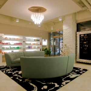 The reception area at Jose Luis Salon in Austin sets the tone for the luxury experience.