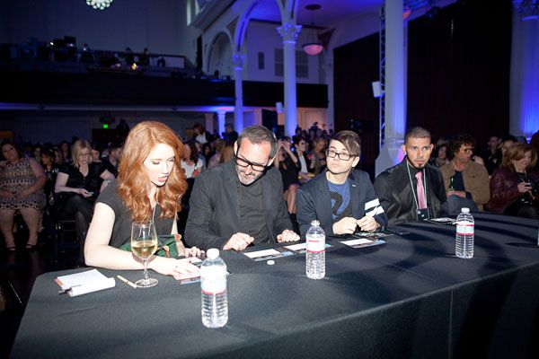 Judges Lauren Quick, Shay Dempsey, Christian Siriano and Daniel Lozado during the runway show