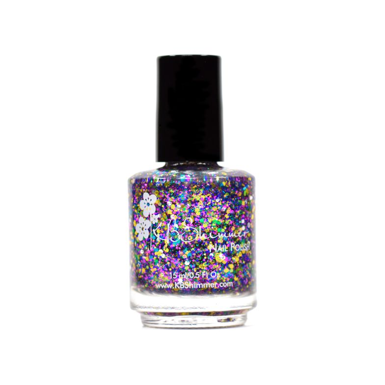 "<p>No stranger to glitter, KBShimmer's winter collection packs in glistening granules wherever possible. 16 colors are introduced in the collection, plus a few returning holiday favorites, including ""Holly Back Girl"" and ""sELFie."" The shade, ""Ornamentally Flawless,"" shown here, is a soirée of sparkles in shades of turquoise, fuchsia, gold, green and silver.</p>"