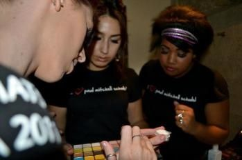 The students select their makeup palette.