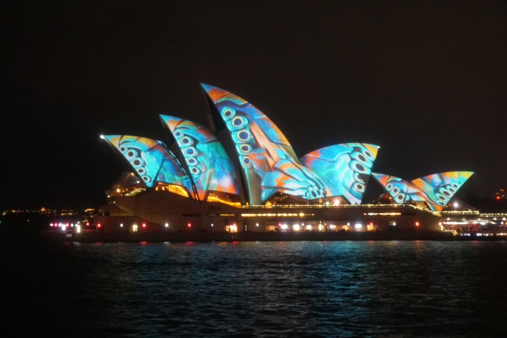 The Sydney Oprah House is lit up by the Vivids Lights Festival.