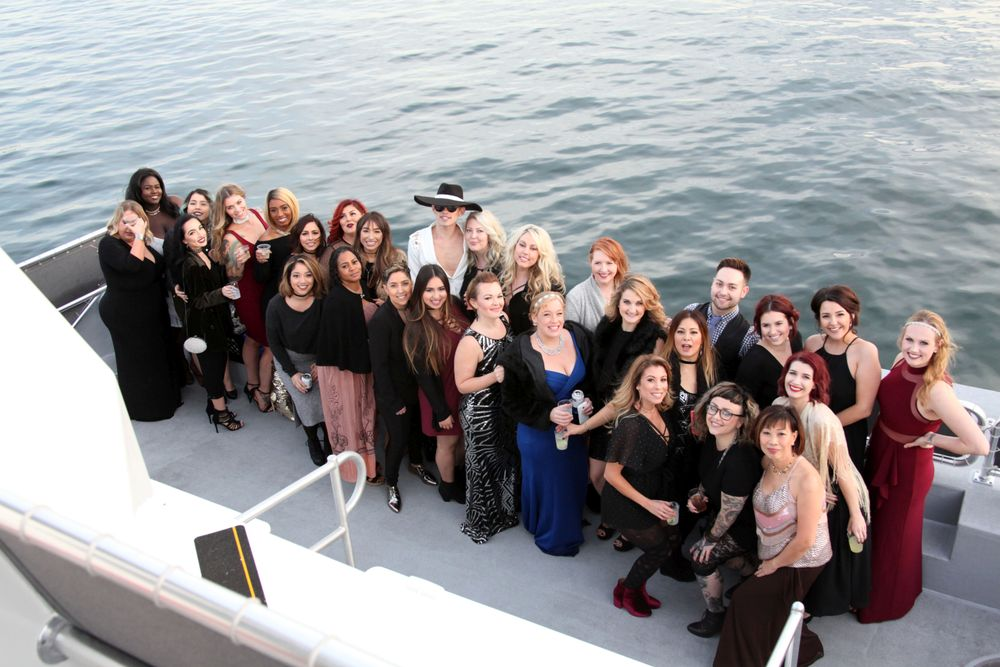 The team from Karen Allen Salon and Spa in Riverside, CA, enjoy a day together on the water.