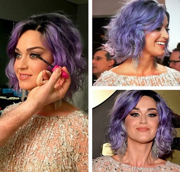 2015 Grammys How-To: Katy Perry's Purple Textured Lob