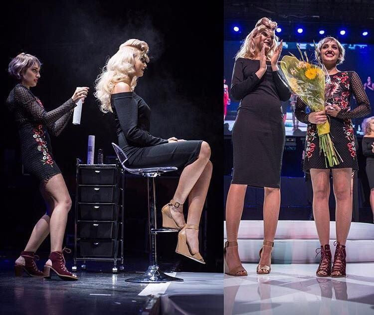 Kelsey Deuel preparing her model onstage and accepting her trophy after being named the Bio Ionic Style Awards Winner.