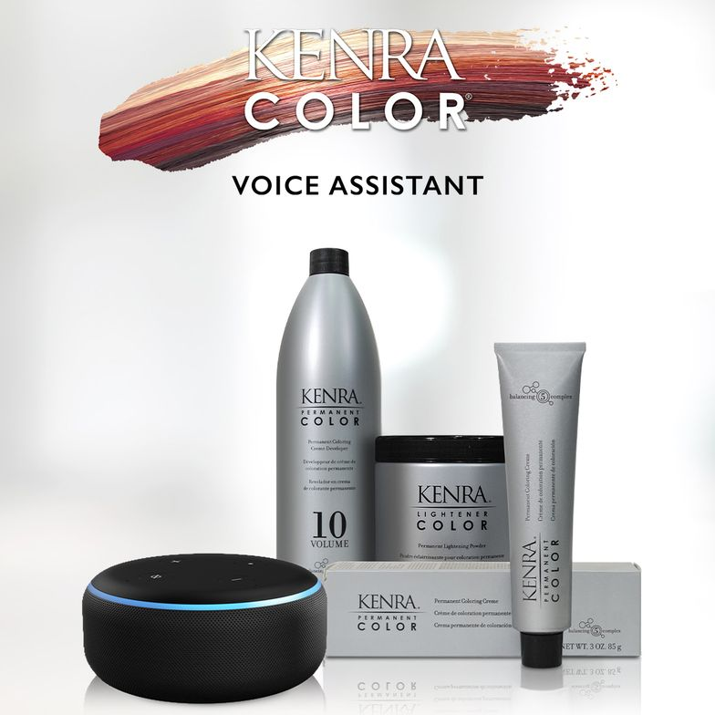 The Kenra Color Voice Assistant Skill, an industry first hands-free smart assistant feature, available on Amazon Alexa.