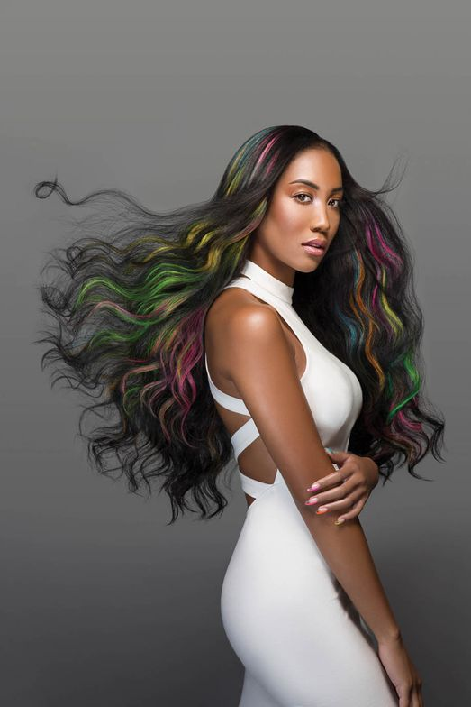 <strong>Hair by Sarajane Maples. </strong>Base formula: 2 parts Vivids Silver to 1 part Vivids Black for dark shade between Neons; Vivids: Neon Pink, Neon Orange, Neon Green, Neon Yellow and Neon Blue