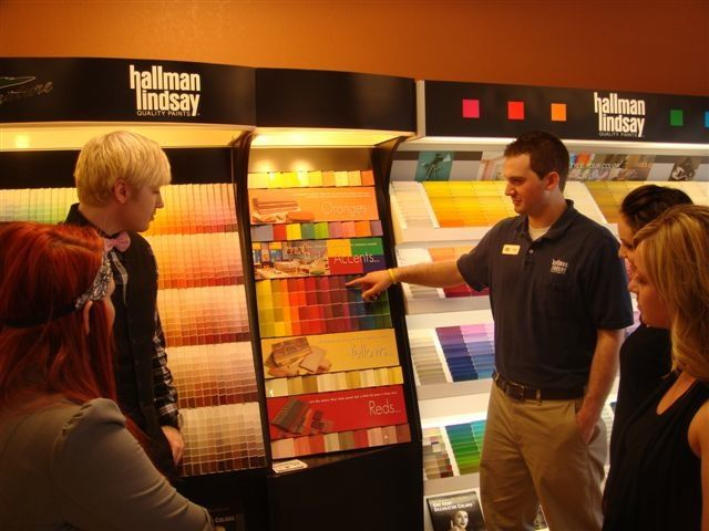 Matt from Hallman Lindsay explains primary colors to the Impressions team.