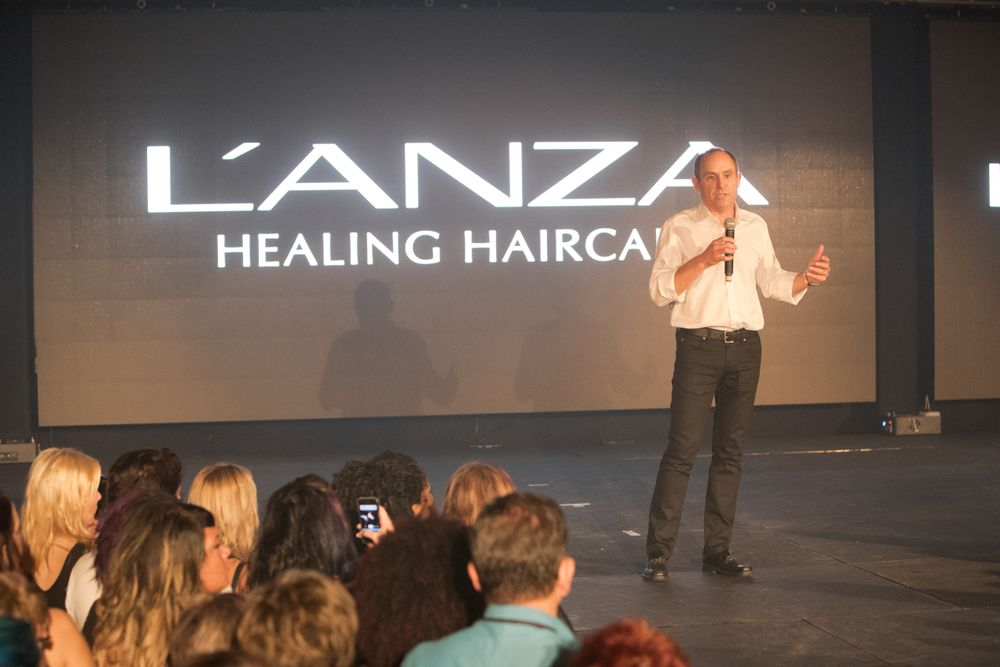 Berglass welcomes attendees to the B.I.G. Show. Credit: David Webber for L'anza