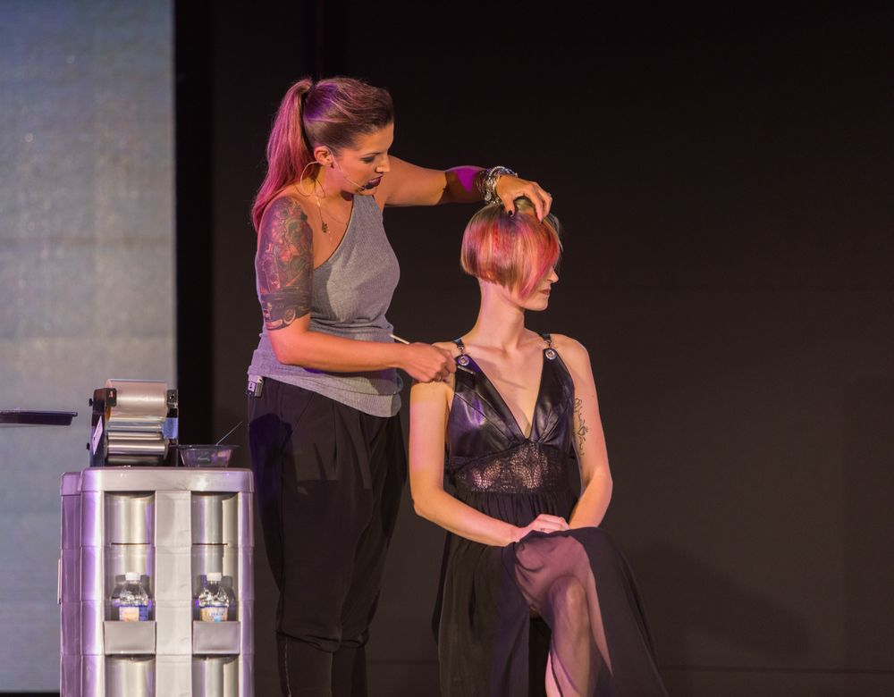 "Freeman teaches easy, impactful and quick color techniques during the ""Color Inside the Lines"" class.Credit: David Webber for L'anza"
