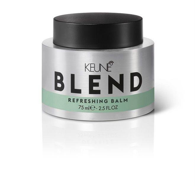 New <strong>Keune BLEND Refreshing Balm</strong><strong> </strong>combines two of your favorite products—dry shampoo and a powdery styling balm. Just rub it between your hands then over the hair's roots and ends to create modern, messy, lived-in texture. The mineral zeolite absorbs excess oil while Keune's Multi-Vitamin Complex moisturizes, nourishes and protects the hair as you style.  Keune's Refreshing Balm emphasizes second-day texture while absorbing oil for a tousled, fresh look and feel.