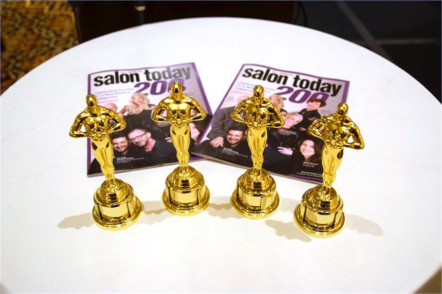 Miniature Oscars stand at the ready, wating to be presented to the four Salon Today 200 honoress with the best videos.