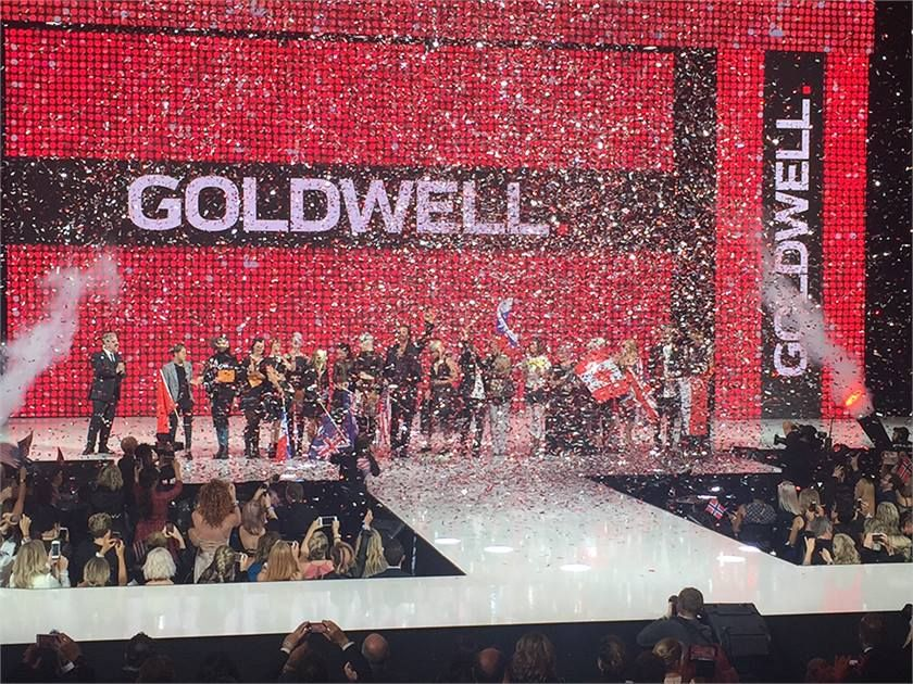 The winners of Goldwell's Color Zoom take the stage in Stockholm, Sweden, fall 2016.