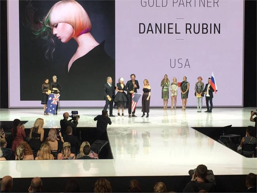 Daniel Rubin announced as winner of the Partner Category at Goldwell's Color Zoom in Stockholm, Sweden in fall, 2016.