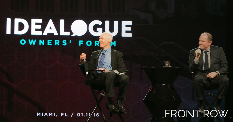 """Jim Collins, author of Good To Great, and Luxury Brand Partners co-founder Tev Finger, hold a """"fireside chat"""" during Idealogue, the owners forum."""