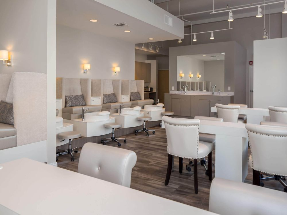 <p>Whether seated in the scrolled back manicure chairs or snuggled into the sumptuous pedicure thrones, clients are pampered at LaBelle Nail Bar.</p>