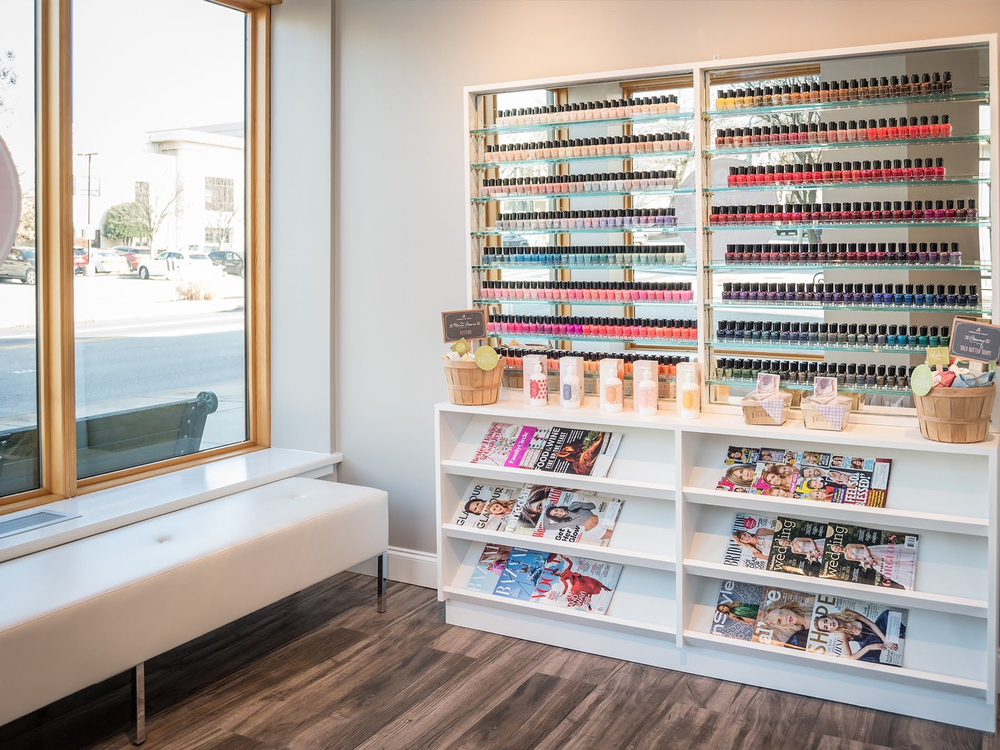 Large, clean displays invite guests to pick a polish.