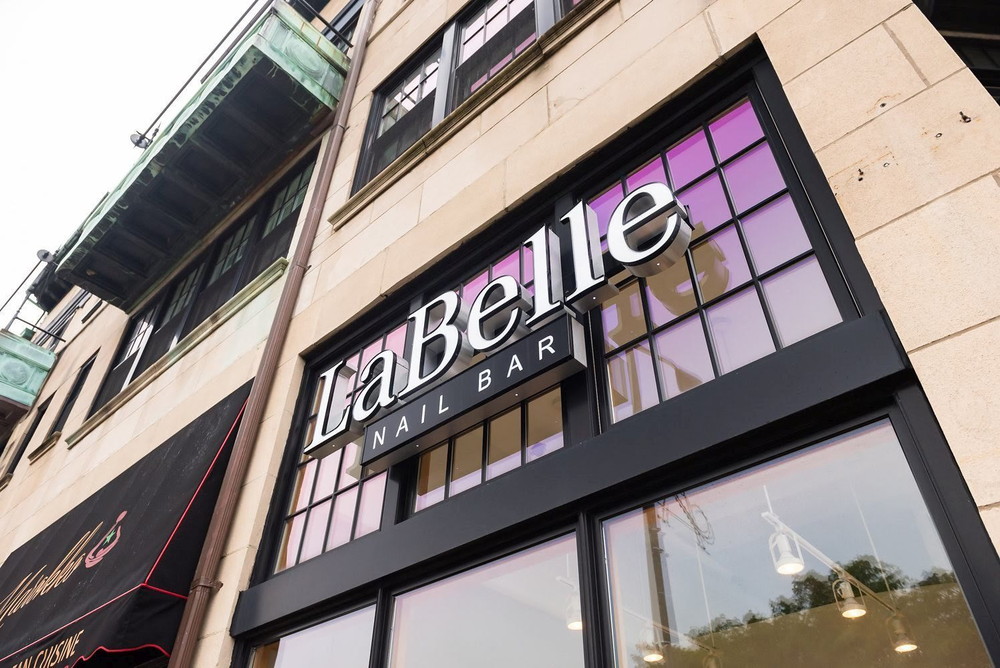 The signage for LaBelle Nail Bar in Ardmore, Pennsylvania.