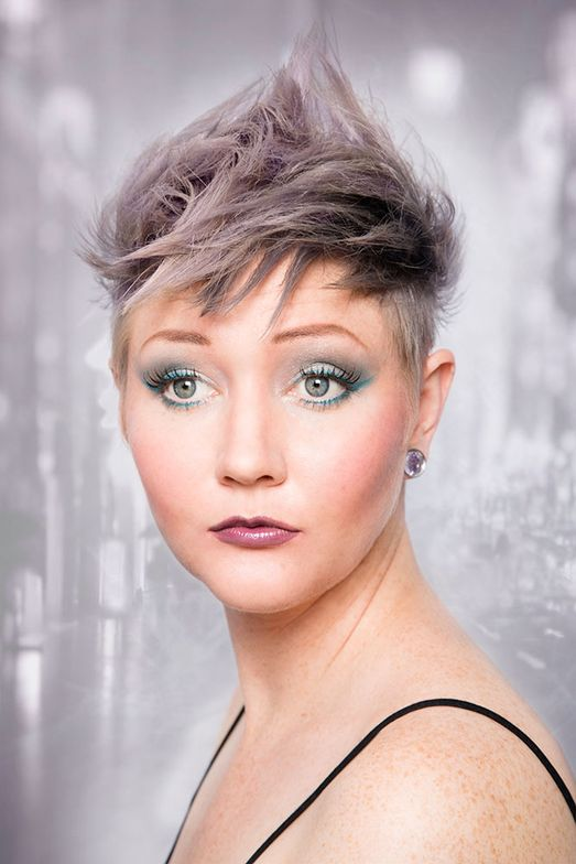 MODIFIED MOHAWK: Lauren Little created the shortest look in the trend preview that featured an undercut to a modified Mohawk shape with grayed-out blonde tones.