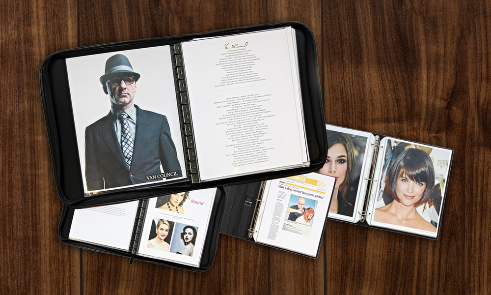 Examples of portfolios used by stylists at Van Michael in Atlanta.