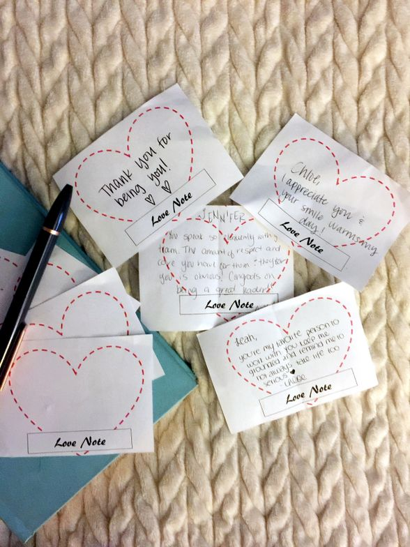 Throughout Love Week, the salon's secret cupids left love notes for their team members.