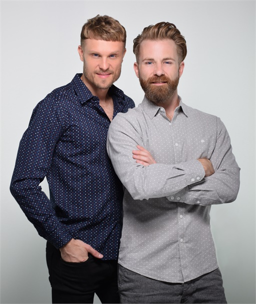 James Gartner and Adam Swanlund, owners of Bii Hair Salon in West Dundee, IL.