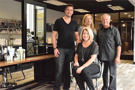 Jerad Rushlow, Jenee Osborne, Gary and Mary (seated) Rushlow, owners of Daybreak Salon in Wyandotte, Michigan.