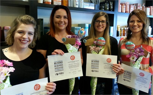 Winners of the Love Your People Customer Service awards at Eric Fisher Salon in Wichita, KS.