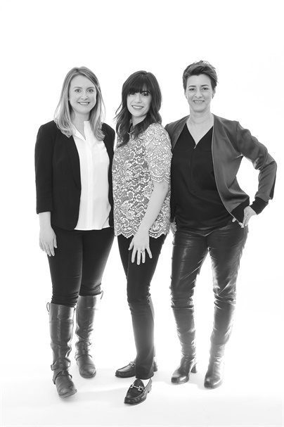 Amy Pirro, marketing manager and graphic designer; Jordan Becker, director of marketing; and Ginny Eramo, owner of Interlocks in Newburyport, Massachusetts.
