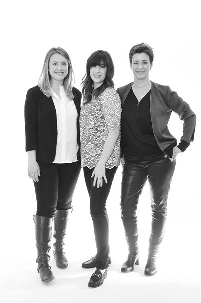 Amy Pirro, marketing manager and graphic designer; Jordan Becker, director of marketing; and Ginny Eramo, owner of Interlocks in Newburyport, Massachusetts.