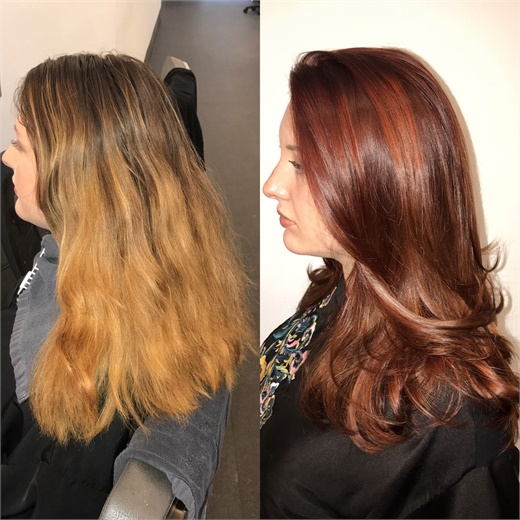 Minardi takes a grown-out, over-processed ombre to a beautiful copper balayage.