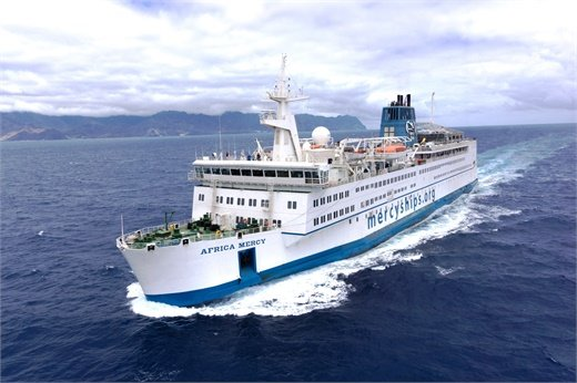 The Africa Mercysails off the coast of Africa, serving countries that rank as the poorest in the world by the United Nations Human Development Index.Credit: Mercy Ships