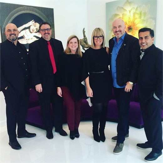 On site at the March cover shoot with Matthew Khodayari, o-owners of Aria Salon; Brian Perdue, owner of Salon 124; Stacey Soble; Candy Shaw, owner of Jamison Shaw Hairdressers, Jeff South, co-owner of Intrigue Salon and Joseph Golshani, owner of Joseph & Friends Salon and Spa.