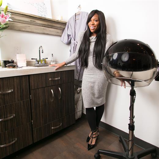 NYC stylist Sadé Williams, owner ofSadé Milinda Studio, in Midtown Manhattan.