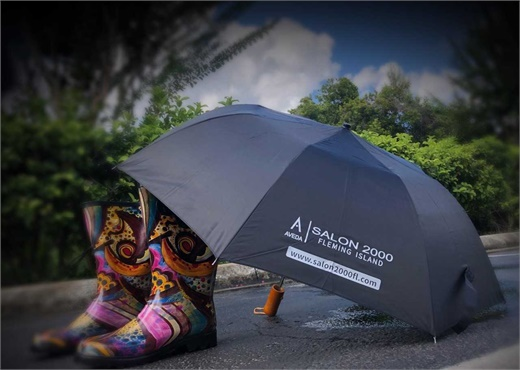 Salon 2000 in Fleming Island, Florida, identifies a branding opportunity on rainy days.
