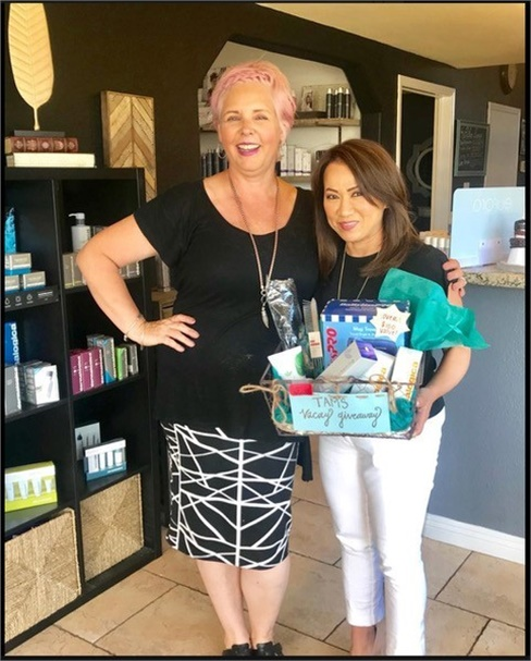 Tamra Segert and a team member from Studio 700 Salon and Spa in Corona, California.